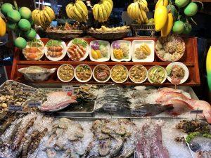 Thai food: fruits and seafood